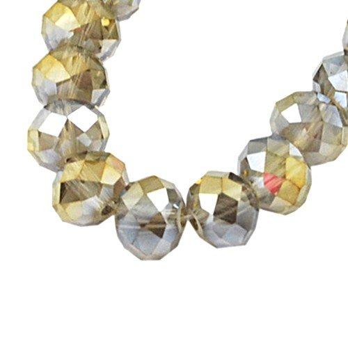 70+ Gris/Arc En Ciel Cristal Bohème 8 x 10mm Rondelle Facetté Perles HA20865 (Charming Beads)