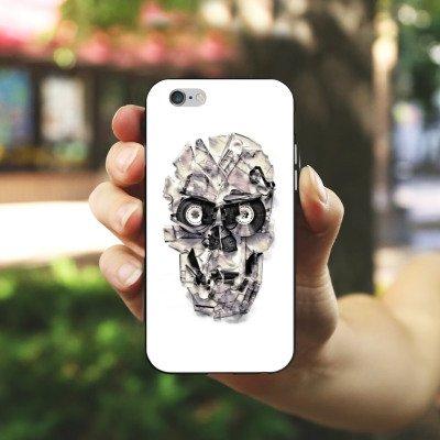 Apple iPhone X Silikon Hülle Case Schutzhülle Skull Totenkopf Schädel Silikon Case schwarz / weiß