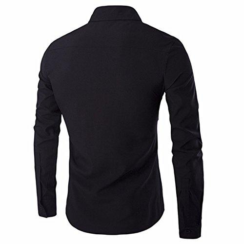QIYUN.Z Uomini Lungo Il Pulsante Manica Giù Sottile Camicia Di Vestito Camicia Pianura Casuale In Forma Nero-77
