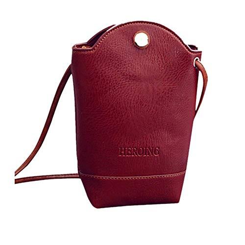 Frauen Messenger Bags Slim Crossbody UmhäNgetaschen Handtasche Kleine Taschen Studententasche Tasche Leder Einzelner Schulter Handytasche Kunstleder Schultertaschen(rot,Freie Größe)