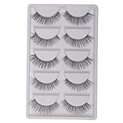 MagiDeal 5 Pairs Handmade Thick Makeup False Eyelashes Natural Long Lashes White Stem