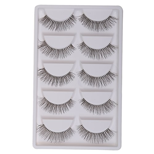 Generic 5 Pairs Handmade Natural False Eyelashes Messy Cross Eye Lashes White Stem