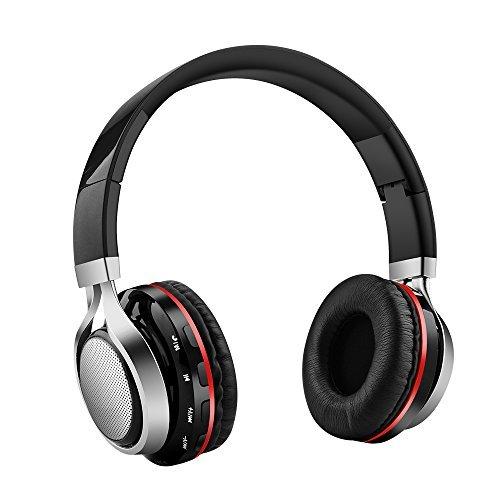 Aita BT816 Auriculares Bluetooth de Diadema Plegable, Cascos Estéreo con luz LED, radioFM, ranura para tarjeta de memoria micro SD, Micrófono para uso compatible con iPhone, PC, Mac(negro)
