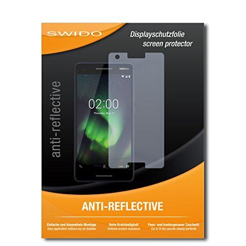 SWIDO® Schutzfolie für Nokia 2.1 [2 Stück] Anti-Reflex MATT Entspiegelnd, Hoher Härtegrad, Schutz vor Kratzer/Bildschirmschutz, Bildschirmschutzfolie, Panzerglas-Folie