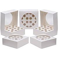 Kurtzy 5 PC Cupcake Boxes - Cupcake Holder Almacena hasta 20 Cupcakes o Large Cake - Cake Carrier Container 28.5 x 28.5cm Box - Bandeja de cartón Muffin con ventana transparente para boda, fiesta de cumpleaños