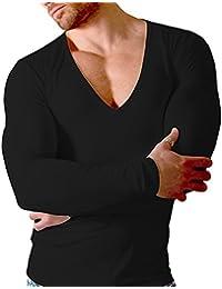 41e449c0099d Doreanse Herren Shirt tiefer V-Ausschnitt Langarmshirt Mens Muscle Fit T-Shirt  Deep-