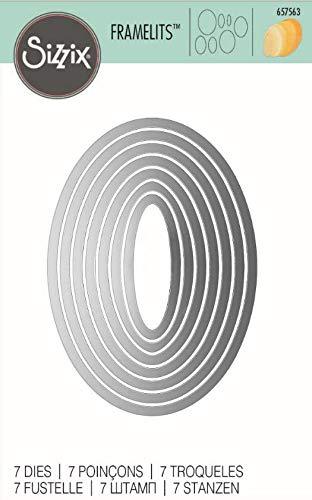 Sizzix Framelits Fustelle Set di 7 Pezzi, Ovali - 3