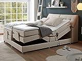 Froschkönig24 Concord 180x200 cm Boxspringbett Bett mit Motor Beige, Ausführung:Variante 2