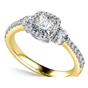Addamas Verlobungsringe für Damen, 1,50 kt Solitär, Diamantschliff, massives Gold