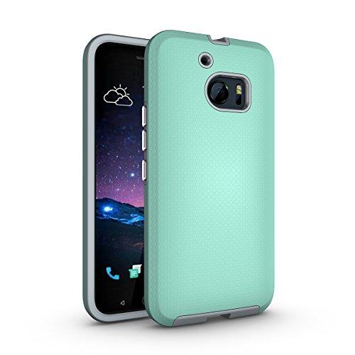 HTC One M10 Coque,EVERGREENBUYING Ultra Slim léger 2 en 1 HTC 10 (2016) Cases Housse Etui de protection Anti-dérapant hybride Cover pour HTC ONE M10 Noir Vert