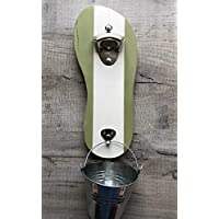 Flip flop design wall mounted bottle opener -green and white