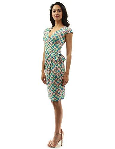 PattyBoutik Damen Kappenhülle Faux Wrap Mantel Kleid dunkel türkis, grün und rosa 26