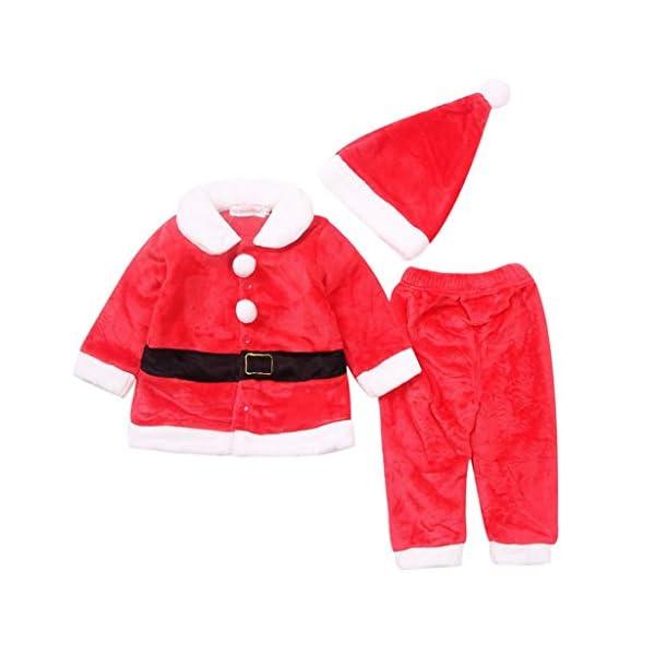 Navidad POLP Bebé Cosplay Tops Pantalones y Sombrero Cinturón Disfraz Conjuntos de 4 Piezas Rojo Verde Trajes Niñas… 2