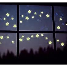 3D Glow Stars en fluorescente luminoso oscuro | Etiquetas engomadas plásticas de Enjoystore Glowing | Pegatinas de pared de luz de noche para techo / paredes / decoración del hogar / dormitorio / habitaciones de bebé para niños - amarillo claro, 1 paquete