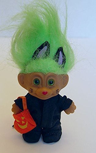 Russ Green Haired Halloween Troll in a Black Cat Costume 3 Tall by Russ