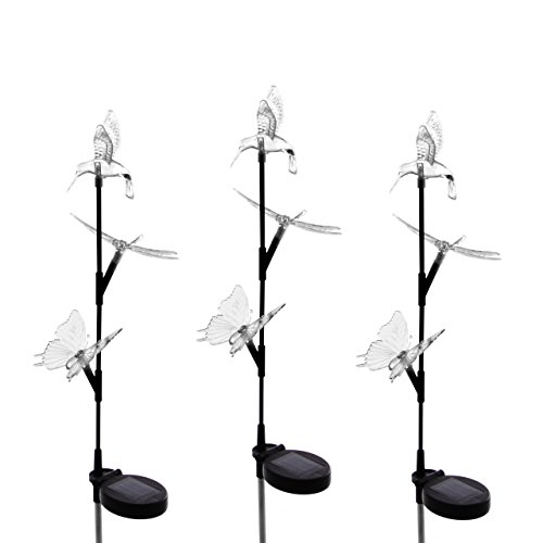 Nexos Solarlampe 3er Set mit Kolibri Schmetterling Libelle 3 LED Farbwechsel 80 cm Gartenbeleuchtung Dekoration Solar Leuchte Solarstecker Kunststoff Edelstahl 3 Figuren