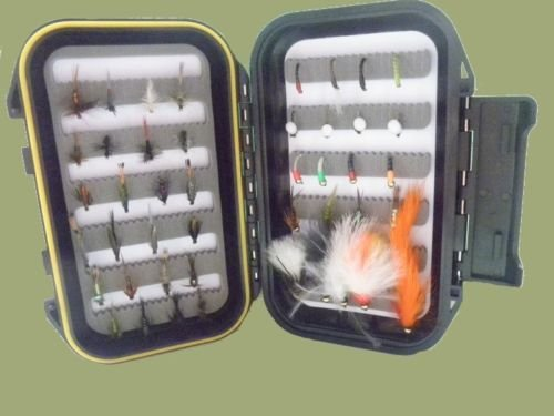 45 Forellen Fliegen Box Set, komplett gemischt Fliegensortiment, tolle Fly Angeln Kit -