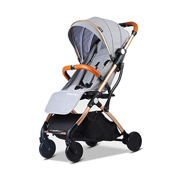 Baby Stroller Plane Lightweight Portable Travelling Pram Children Pushchair (Light Grey G)  Stroller for plane and travel Aluminium frame,light weight around 7 kg One hand easy folding way (practice required) 1