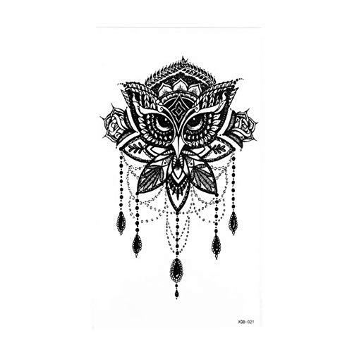1 Stück Kompass Pfeile Heiß Schwarz Weiß Große Blume Henna Temporäre Tätowierung Schwarz Mehndi Stil Wasserdicht Tattoo Aufkleber
