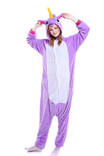 Imagen de tuopuda kigurumi pijamas unicornio unisexo adulto traje disfraz pijamas de animales enteros cosplay animales de vestuario ropa de dormir halloween y navidad m  158 167 cm height , purple