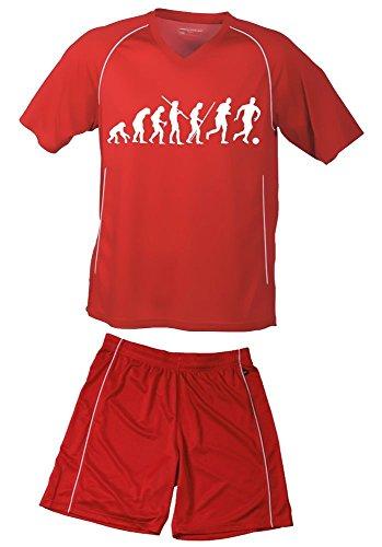 TRIKOTSET mit DEINEM NAMEN + NUMMER ! Fussball Evolution Kinder Trikot + Hose rot-rot, 158-164
