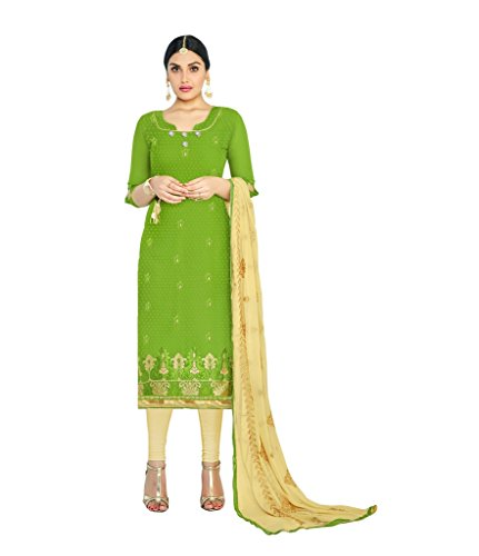 Kavvya Fashion Women\'s Green And Beige Cotton Jacquard Embroidery Partywear Dress Material