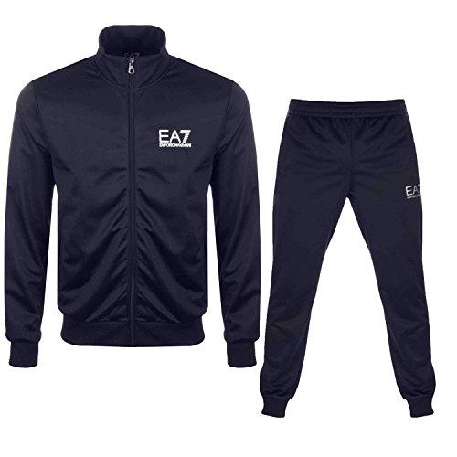 Emporio armani ea7tuta sportiva in poliestere felpa con logo grande 3zpv63, 3zpv63-1554, navy, xxl