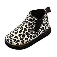 Kids Toddler Snow Warm Ankle Boots Winter Zipper Non Slip Sneakers Casual Chelsea Shoes Children Boots, Fashion Baby Booties Sneaker Leopard Short Boots by YONSIN Beige