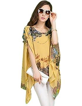 QIYUN.Z Gasa Irregular Dobladillo Asimetrico Floral Manga Kimono De Impresion Blusa Camiseta