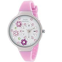 THINK POSITIVE® Damenuhr Modell SE W113 Blumen Medium Stahl Silikonband (rosa)
