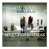 QTZJYLW Weihnachts-Fensteraufkleber Weihnachtsmann Und Elch Muster Entfernbare Aufkleber Aufkleber Für Store Home Decor