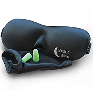 Eye Mask / Sleep Mask - Sleeping Masks for Men & Women * MONEY BACK GUARANTEE * Buy 3 & Get Free UK Delivery Better than Silk - Our Bedtime Bliss Luxury Patented Contoured & Comfortable Sleep Mask & Ear Plug Set is the Best Blackout Eyemask it will Block Light but Wont Touch your eyes like other Eyemasks - Carry Pouch and Ear Plugs Included for FREE