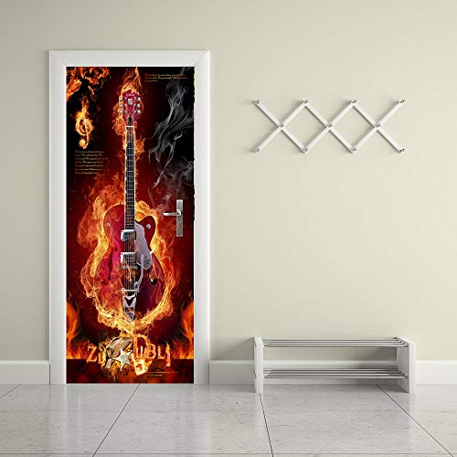 Kreative Tür Aufkleber, 3D Feuer Gitarre Wandaufkleber, PVC Wasserdichte Poster Aufkleber Wandbild Für Schlafzimmer Wohnzimmer Wohnkultur 90x200 cm - E-gitarre Feuer