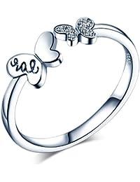 eef0536c1047 Infinite U - Anillo de apertura de plata de ley 925 con circonita cúbica  para mujeres
