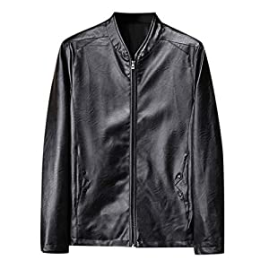 Kunstlederjacke Herren Herbst Winter New Retro Black Denim Jacke Solide Kragen Jacke Pure Long Sleeved Coat