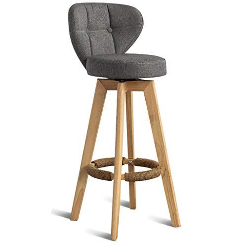 Küche Holz-finish Stuhl (DREH ARBEITSHOCKER Fußstütze Mit Rückenlehne Drehsitz Blauer Leinenbezug Frühstückshocker Esszimmerstühle Für Küche Pub 4 Holz Beine (Farbe : B, größe : 84cm))