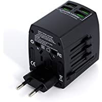 Worldwide Universal International Travel Adapter With 4 USB Smart Charging Ports By MLPC Accessories – Premium Rated Universal Travel Adapter. Use for Mobiles, Tablets and Many Other Devices & Appliances. Works in Over 150 Countries Including, USA, Europe, UK, Australia, Asia, South America & Many Others (Black)