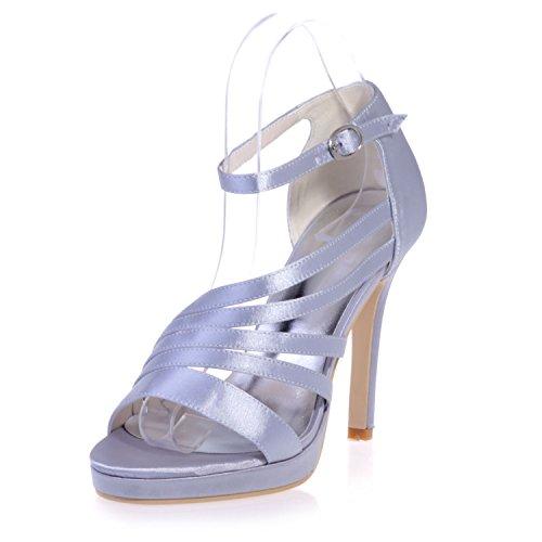 Chalmart Escarpins à bride élégant Sandales à Haut Talon Soirée Chaussures Mariage Vogue Argenté