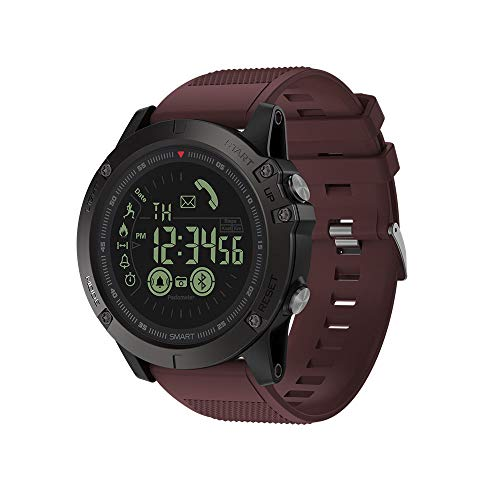 JS Reloj Deportivo Inteligente, BT4.0 5ATM a Prueba de Agua Banda de muñeca Inteligente Podómetro Alarma Cronómetro Recordatorios de cámara remotos Compatible con iOS y Android,Red