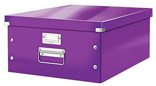 Leitz, Große Aufbewahrungs- und Transportbox, Lila, Mit Deckel, Für A3, Click & Store, 60450062 (Große Schachteln Box)