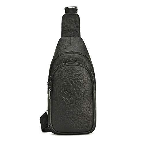 Koreanische Version der Leder Herrentasche lässig Drachenmuster Brusttasche Top-Layer-Leder Outdoor Messenger Bag schwarz -