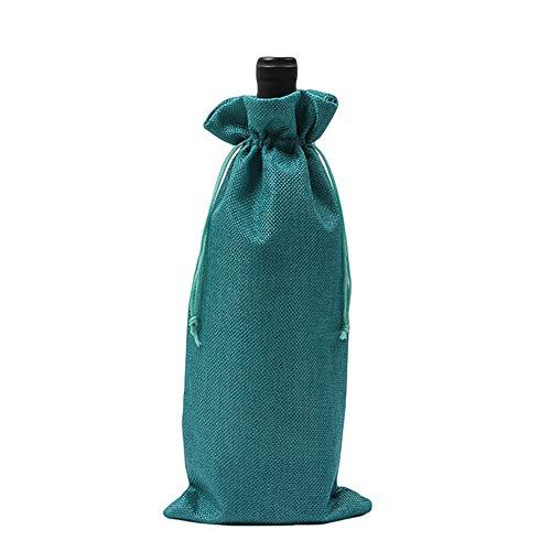 AchidistviQ Weinflaschenhülle mit Kordelzug, rustikal, Leinen, für Hochzeit, Party, Dekoration dunkelblau