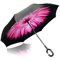iTrunk Doble Capa de Paraguas Plegable Inversa con Manos en Forma de C Mango Libre - Protección UV a Prueba de Viento Impermeable para Uso al Aire Libre y el Uso de Coches Rosa Margarita