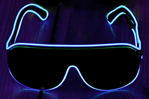 Ucult Soundsensitive EL-Brille Leuchtbrille Blinkbrille Clubbrille LED Brille (Blau)