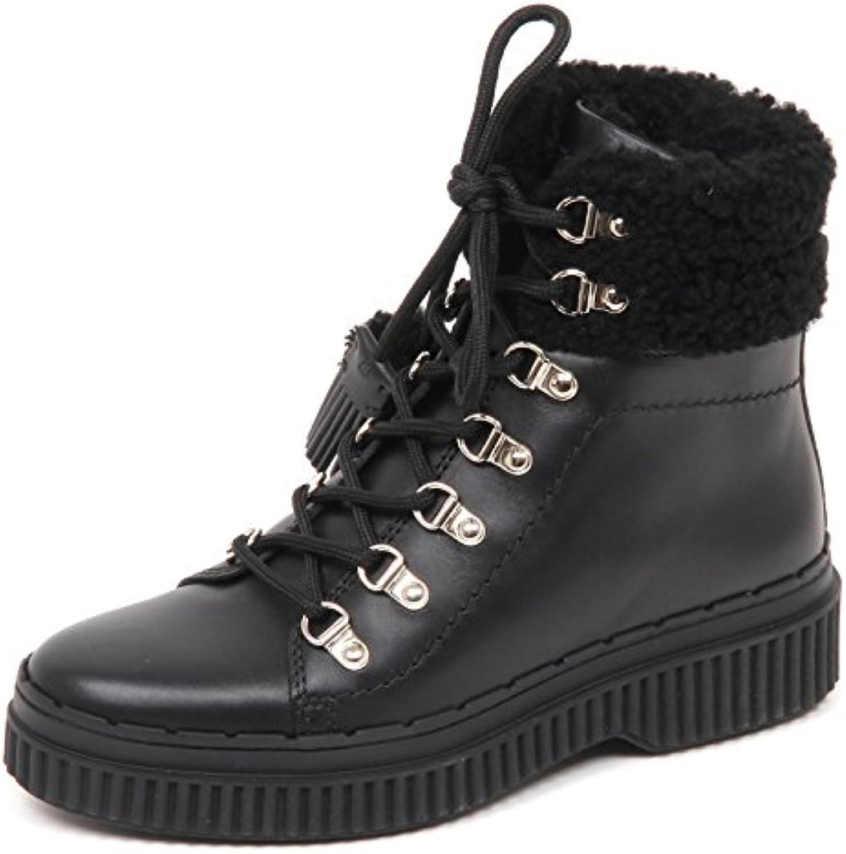 Tod's E2826 Sneaker Donna Nero Scarpe Tronchetto Ganci Shoe Woman