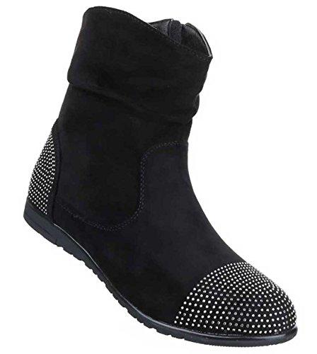 Damen Boots Stiefeletten Schuhe Mit Strass Schwarz Grau Rot 36 37 38 39 40 41 Schwarz