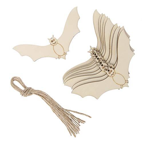 Baoyl 10 Stück Halloween-Anhänger Fledermaus zum Aufhängen von Halloween, Holz-Handwerk, mit Seil, Heimdekoration, DIY Ornamente (Aus Diy Holz Halloween-dekoration)