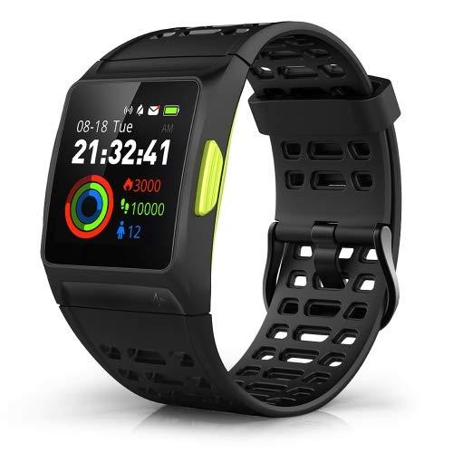 JBC-P1 Fitness Uhr Professional Smartwatch, Herzfrequenz mit HRV-Analyse, Jogging, Schwimmen, Kalorien, Laufstatistik, Stada -