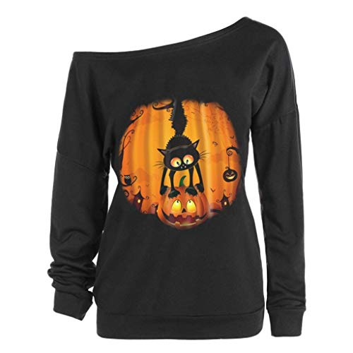Innerternet Halloween Party Kostüme Bluse Pullover Damen Casual Lose Kürbis Druck Schulterfrei Sweatshirt Lange Ärmel Oberteile Tops Tunika