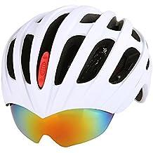 Casco de bicicleta MTB GranVela® / carretera cascos Ciclismo Montaña Racing, 56 de 62 cm ajustable ultraligeros íntegramente con 27 respiraderos casco y gafas + 3 lente diseño Blanco blanco